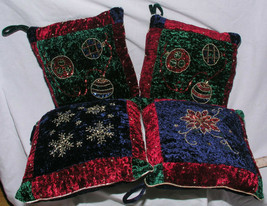 Set of 4 Christmas Throw Pillows Ornaments Velvet Gold Trim Jewel Tones ... - $39.99