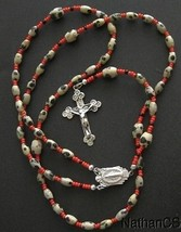 Catholic Rosary Rosenkranz Dalmatian Jasper and Sterling Silver - $84.15