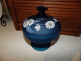 Westmoreland Hand Painted Daisy Blue Satin Glass Pedestal Covered Candy ... - $29.70