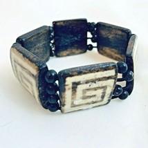 Vintage Wood Beaded Square Tile Stretch Bangle Bracelet Brown Geometric ... - $9.89