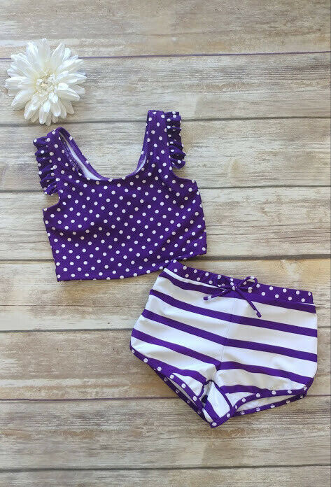 Girls Purple and white polka dot swimsuit