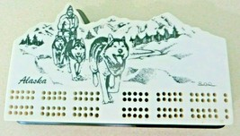 Alaska sled team dogs in Mountains artist signed Lee, cribbage board & p... - $40.50