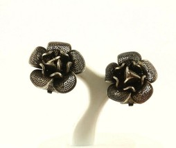 Vintage Rose Flower Filigree Design Clip On Earrings 925 STERLING ER 1107 - $19.99