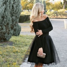 New black luxurious 6 layers hard tulle women skirt midi knee length full circle - $48.00