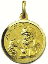 SOLID 18K YELLOW GOLD ROUND MEDAL, SAINT MARK, MARCO, DIAMETER 17mm image 1