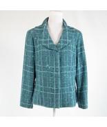 Light blue black textured cotton blend DONCASTER COLLECTION blazer jacke... - $74.99