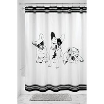 "InterDesign French Bulldog Fabric Shower Curtain, 72"" X 72"" - Black/White - $16.80"