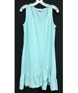Clearwater Cotton Blue Floral Flounce Tank Dress Size Medium Ruffle Hem ... - $32.30