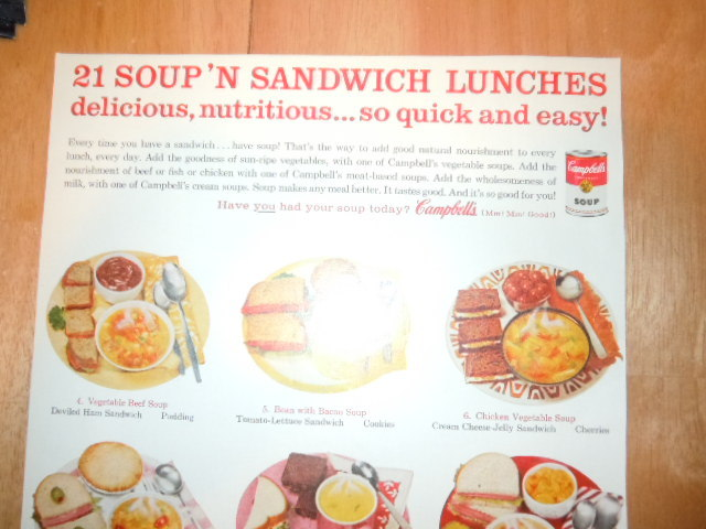 Vintage Campbell's Soup 21 Soup N Sandwich Lunches Print Magazine Advertisement  image 2