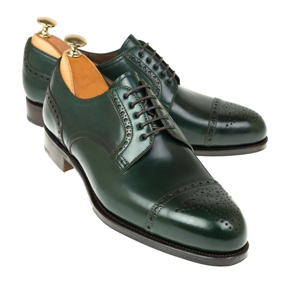 Handmade Men's Green Two Tone Brogues Style Dress/Formal Oxford Leather Shoe