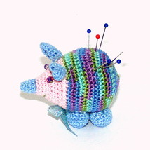 "Little Hedgehog Pincushion, 1 3/4"" H, 2.5"" L, Crochet, Miniature, toy, doll - $16.13"