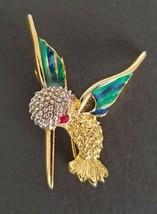 Hummingbird Pin Gold Tone Brooch Red Rhinestone Faceted Eye Textured Hea... - $13.99