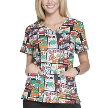 Rudolph the Red Nose Reindeer Christmas Women's Graphic Cartoons Scrubs NEW - £13.79 GBP