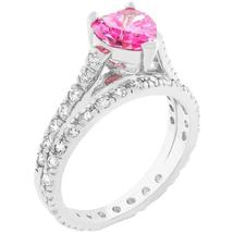 Pink Heart Cubic Zirconia Ring Set - €29,52 EUR