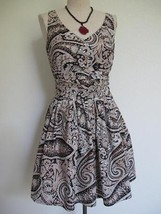 J. Crew Cecilia Dress 0 Fit and Flare Ruched Wrap Sash Navy Tan Paisley Cotton - $20.56