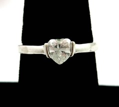 HEART RHINESTONE RING Vintage Shaped Cut Clear Silvertone Solitaire Size 8 - $24.99
