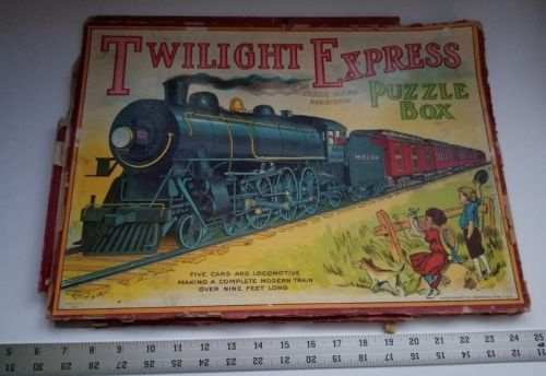Twilight Express Puzzle Milton Bradley Antique Jigsaw Pieces Box Toy Treasure image 1