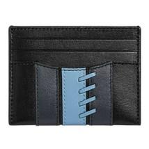 NWT COACH Slim Card Case Varsity Stripe Wallet Money Baseball Black Blue... - $40.00