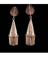 Antique dangle filigree earrings / victorian tassel set / bohemian fring... - $165.00