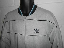 Vintage 80s 90s Gray Adidas Trefoil Zip Up Track Jacket Sweatshirt Large - $29.99