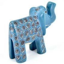 Hand Carved Gusii Soapstone Blue Elephant w Swirl Design Figurine Made in Kenya image 5