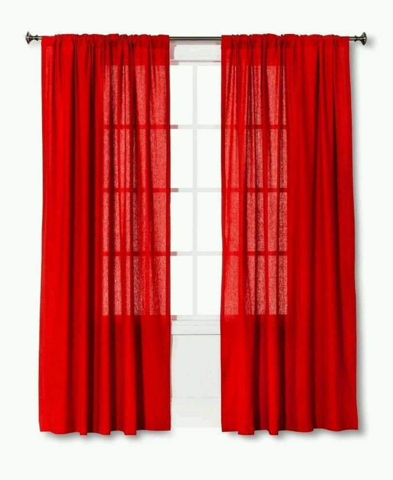 "Primary image for Threshold Linen Look Red Window Curtain Panel 84""L"