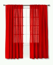 "Threshold Linen Look Red Window Curtain Panel 84""L - $15.20"