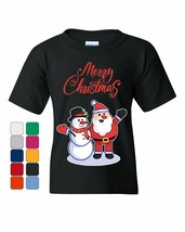 Merry Christmas Santa Snowman Hug Youth T-Shirt Xmas Holiday Spirit Kids... - $9.03+