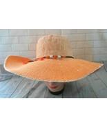Angela William Orange Cream Small Medium Wide Brim Paper Straw Packable ... - $21.26