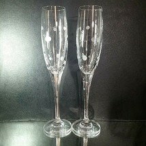 2 (Two) MIKASA CELEBRATION Etched Lead Crystal Toasting Flutes DISCONTINUED - $27.54