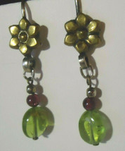 Vintage Sterling Crystal Green and Red Dangle Earrings - $19.99