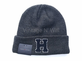 Tommy Hilfiger Mens Dark Gray/ Navy Blue H Patch Logo Cuffed Beanie Cap ... - $29.99