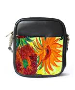 Sling Bag Leather Shoulder Bag Vincent Van Gogh Sunflowers Beautiful Nat... - $14.00
