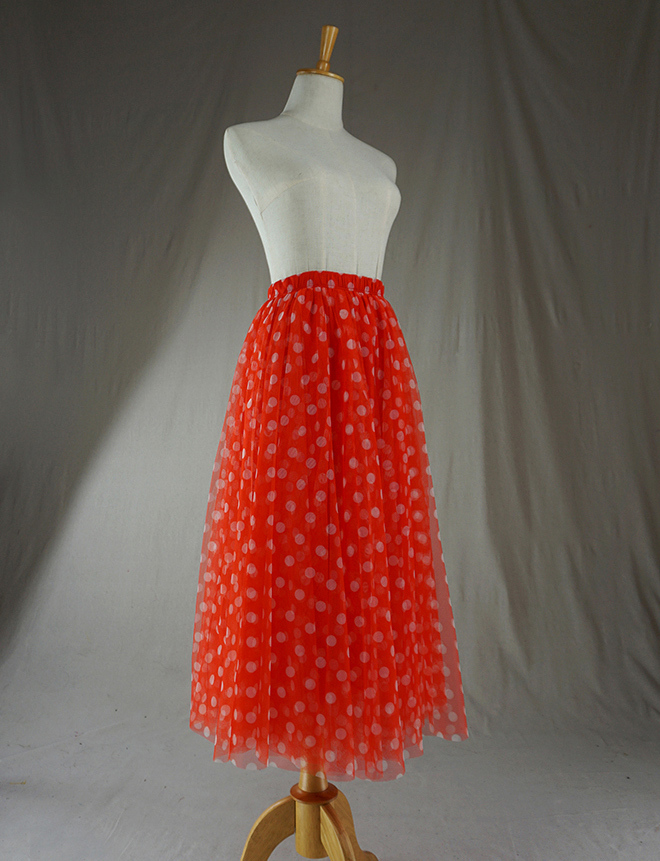 Women's Midi Polka Dot Skirt High Waist A Line Tulle Skirt Polka Dot Party Skirt