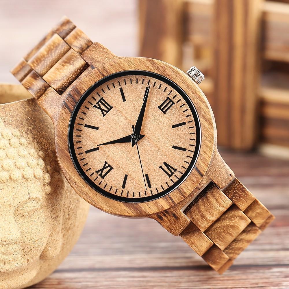 Wooden Watch Nature Full Wood Watch Bamboo Quartz Watches Handmade Clock Bamboo
