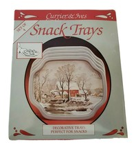 Vtg Currier & Ives Snack Trays Tin Christmas Gift Snowy winter scene - $15.00