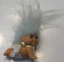 """Vintage Russ Troll Dolls Crawling Baby #18299 Grandma Blue Hair 2.25"""" wi... - $19.59"""