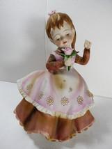 VTG Lefton China Japan Dancing Singer Girl Figurine Flower Ponytail Brow... - $34.65