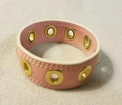 Genuine COACH Patent Leather Pink Gold Grommet Bangle Bracelet Statement... - $16.48