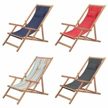 vidaXL Folding Beach Chair Fabric Wood Frame Outdoor Seat Lounge Multi C... - $60.99+
