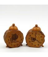 Vintage Set of Salt Pepper Shakers Wooden Clock  - $14.24