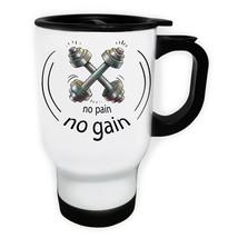 No Pain No Gain Sports Elite Fitness Love Gy White/Steel Travel 14oz Mug... - $17.79