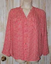 Womens Red White Zig Zag Zac & Rachel 3/4 or Long Sleeve Shirt Size 2X e... - $7.91