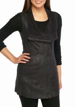NWT CALVIN KLEIN BLACK FAUX SUEDE ZIP FRONT MOTTO VEST SIZE M $119 - $37.61