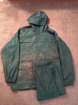 Mens Columbia Polyurethane Hooded Parka/Rain Jacket & Pants, Green, Sz XL - $49.99