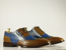 Handmade Brown & Blue Leather Wing Tip Dress/Formal Oxford Shoes image 5