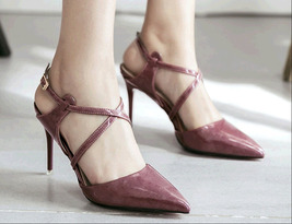 ps387 elegant strappy pointy sandals, patent leather , Size 4-8.5, violet - $42.80
