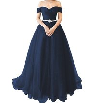 Women's A line Tulle Prom Dresses Long Off Shoulder Formal Evening Gown Cheap - $139.00