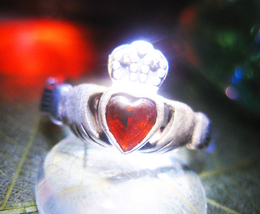 Haunted RING 3X TRUE LOVE MAGICK 925 GARNET CLADDAUGH WITCH CASSIA4 - $57.77