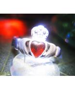 Haunted RING 3X TRUE LOVE MAGICK 925 GARNET CLADDAUGH WITCH CASSIA4 - $57.77